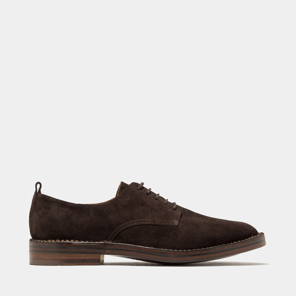 BUTTERO: SCARPA STRINGATA IDEA IN SUEDE MOKA