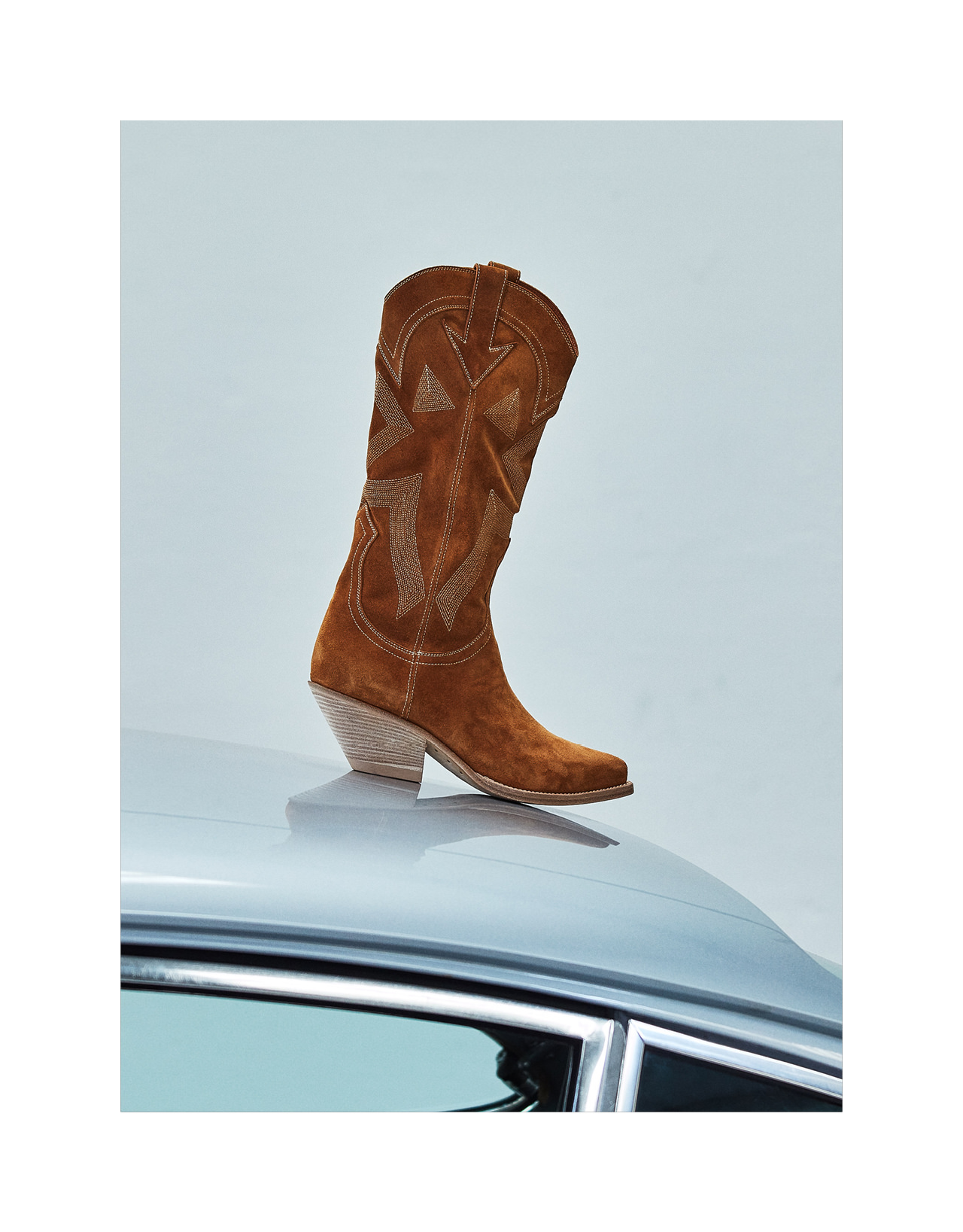 ELISE HIGH HEEL DURANGO BOOTS IN COPPER BROWN SUEDE