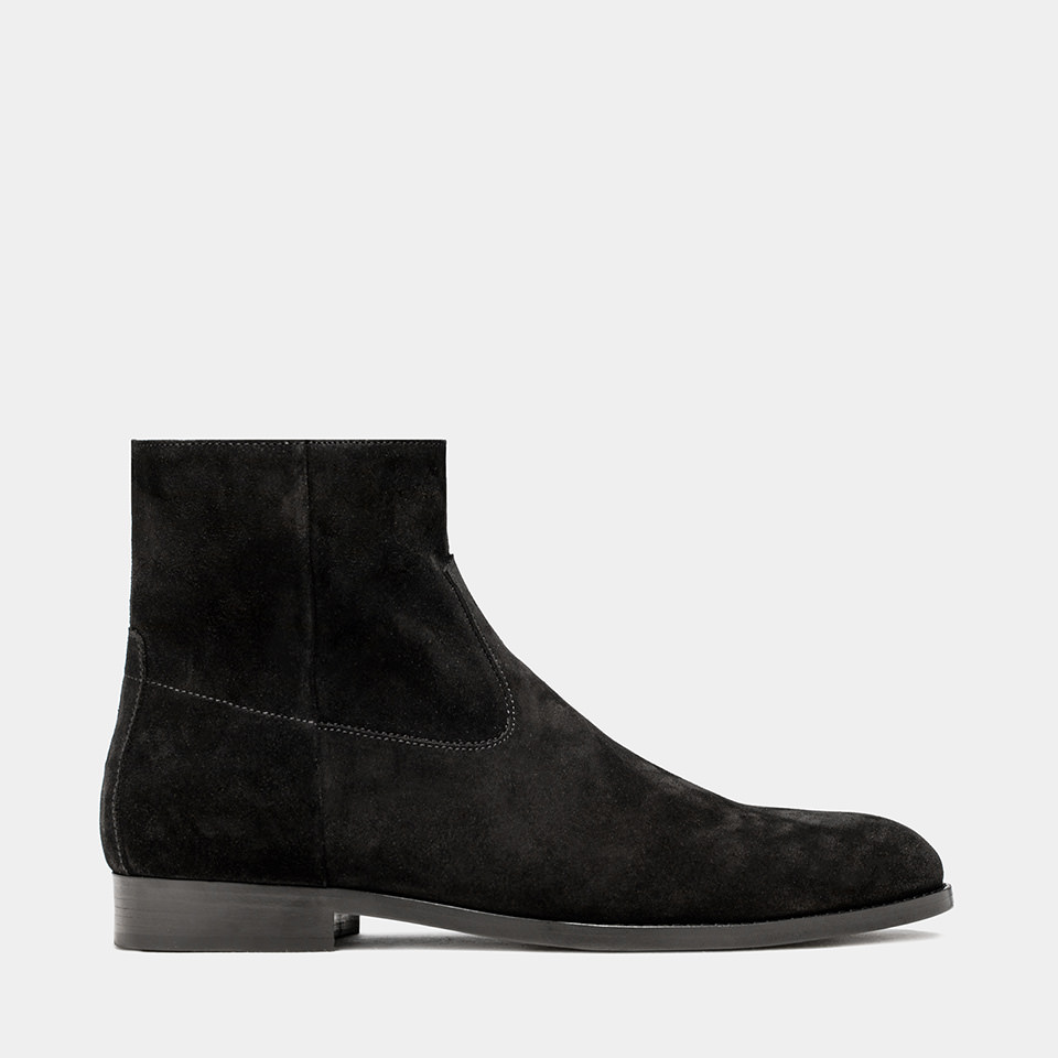 BUTTERO: BLACK SUEDE FLOYD ANKLE BOOTS