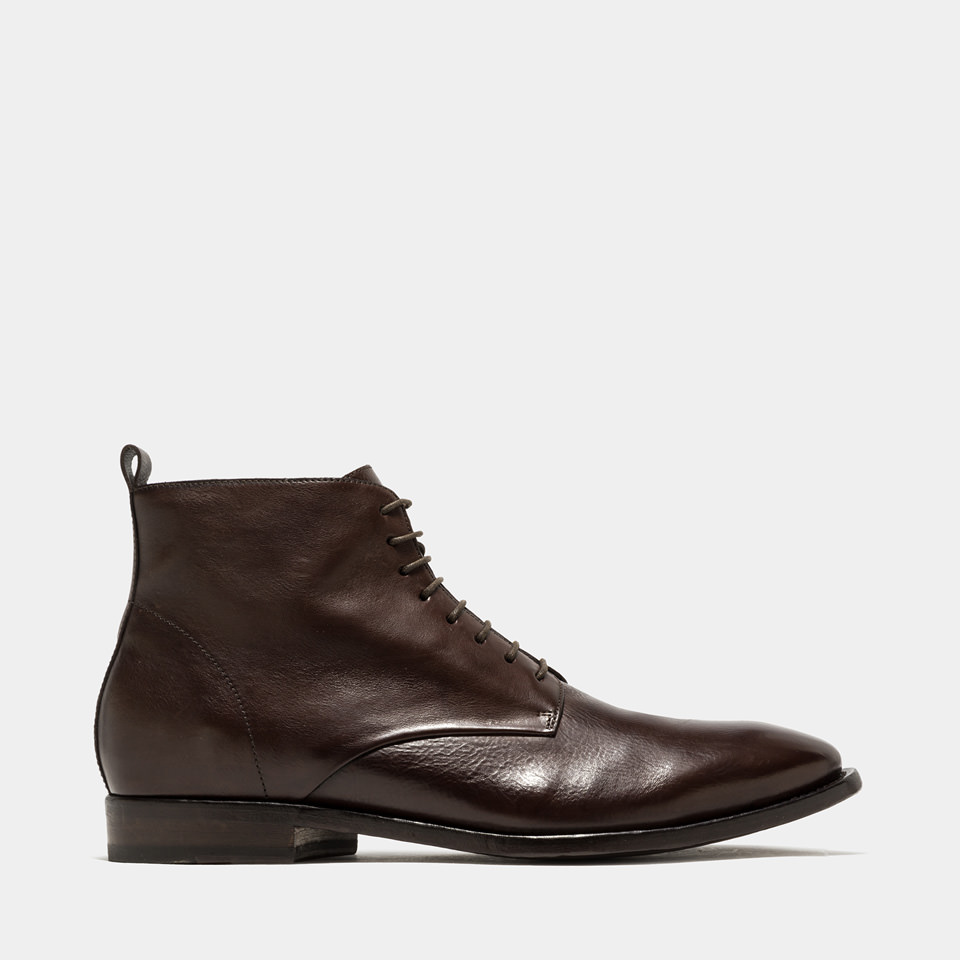 BUTTERO: DARK BROWN LEATHER KINGSLEY BOOTS