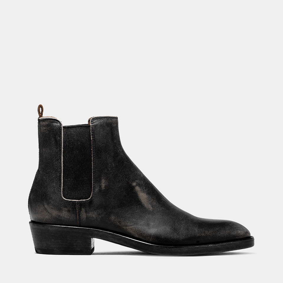 BUTTERO: BLACK USED EFFECT LEATHER QUENTIN BOOTS