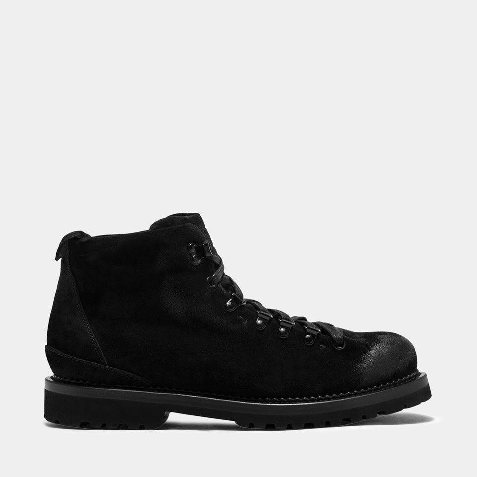 BUTTERO: BLACK SUEDE CANALONE LACE-UP BOOTS