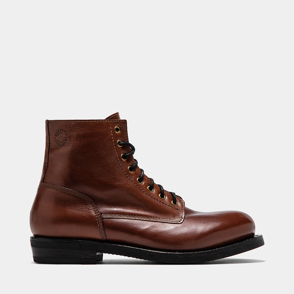 BUTTERO: NATURAL BROWN T.BONE HIGH-LACED BOOTS