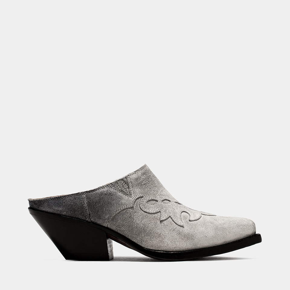 BUTTERO: ELISE CLOG IN WHITE/GRAY/BLACK DEGRADE' SUEDE