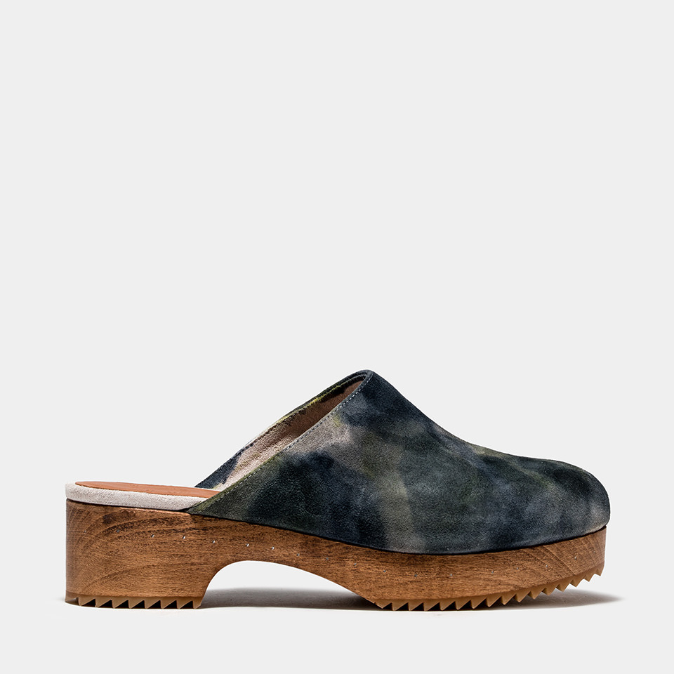 BUTTERO: MARFA CLOG IN WHITE TIE DYED SUEDE