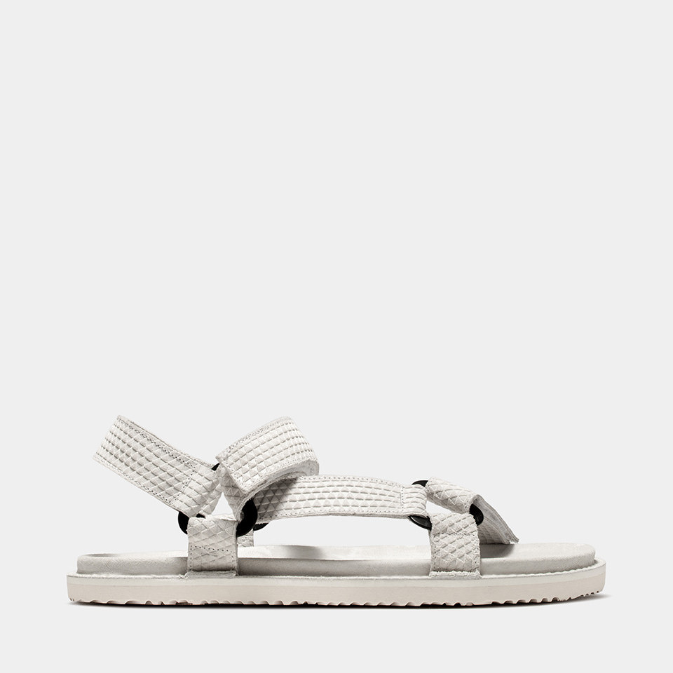 BUTTERO: WHITE PRINTED  SUEDE EL FUSO SANDALS WITH STRAPS