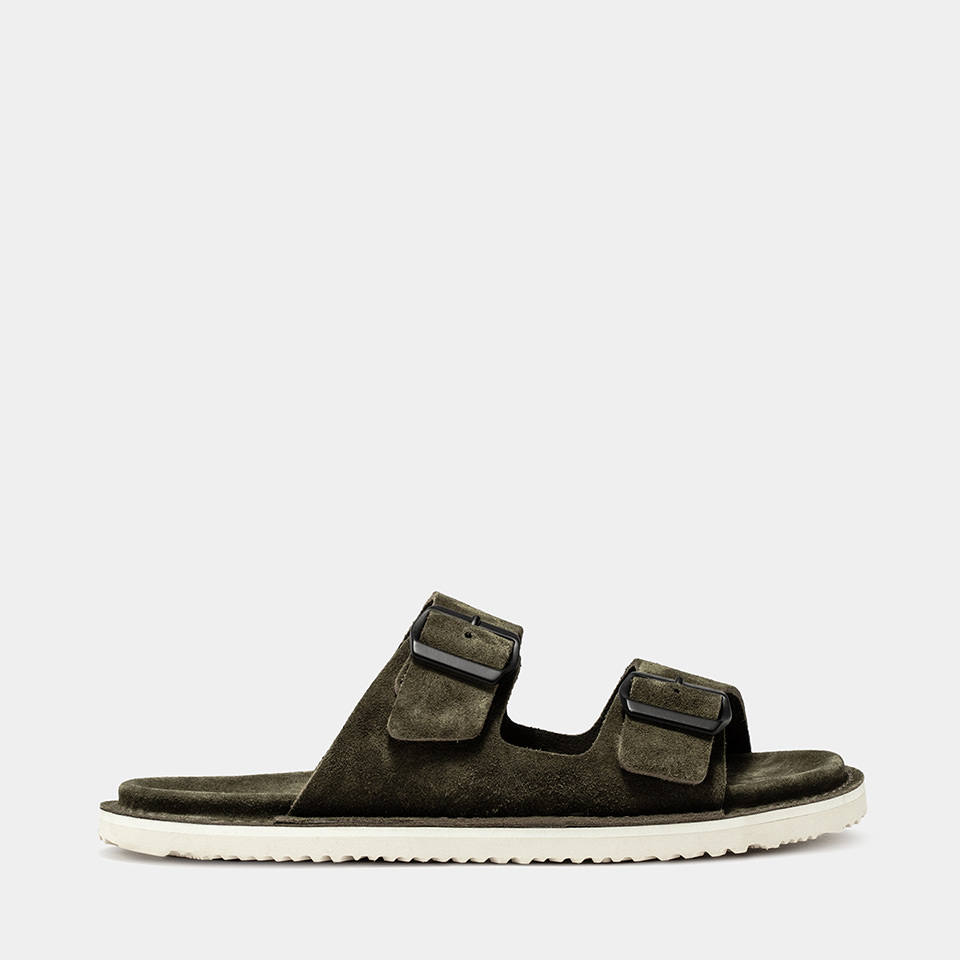 BUTTERO: ARMY GREEN SUEDE EL FUSO SANDALS WITH BUCKLE