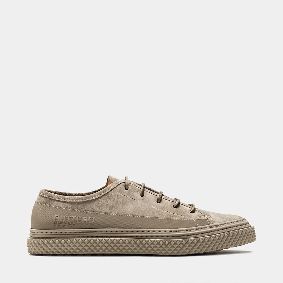 BUTTERO: LOW TOP BRIGATA SNEAKERS IN GEYSER GRAY SUEDE