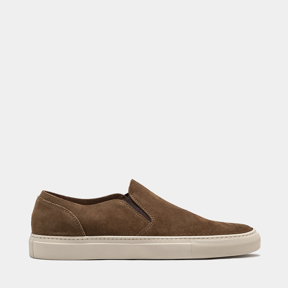 BUTTERO: TOBACCO BROWN SUEDE TANINO SLIP ON