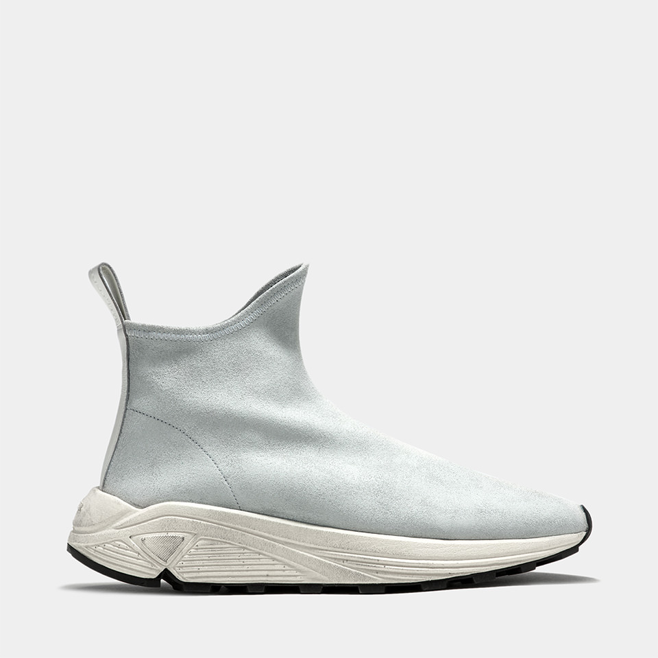 BUTTERO: VINCI SOCK SNEAKERS IN WHITE STRETCH BIANCHETTO LEATHER