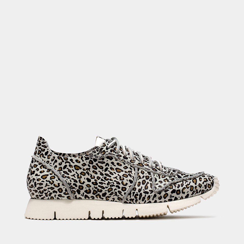 BUTTERO: OFF WHITE LEATHER CARRERA SNEAKERS WITH LEOPARD PRINT