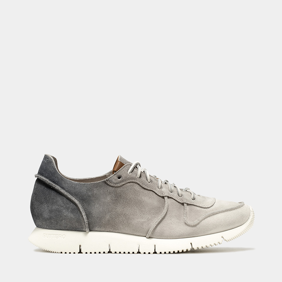 BUTTERO: WHITE/GRAY/BLACK DEGRADE' SUEDE CARRERA SNEAKERS