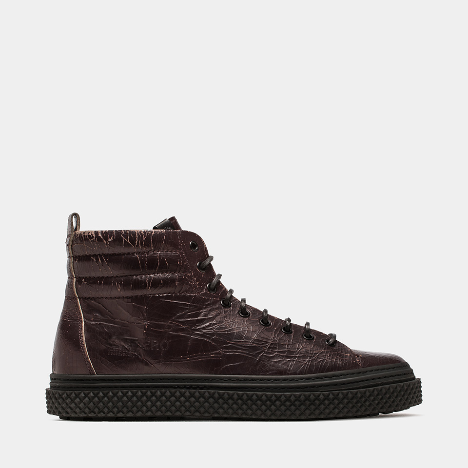 BUTTERO: MID COLLODI SNEAKERS IN CRACKLE EFFECT LEATHER COLOR DARK CHILE