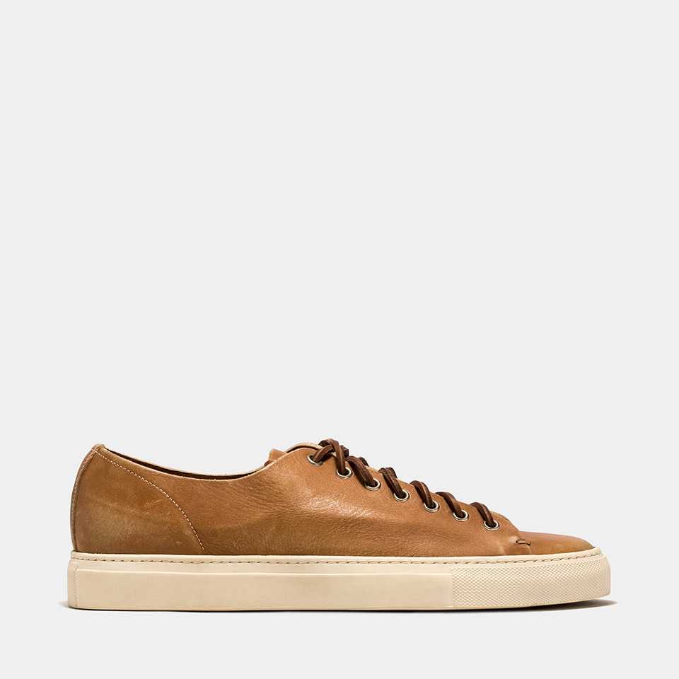 BUTTERO: NATURAL BROWN USED EFFECT LEATHER TANINO LOW TOP SNEAKERS