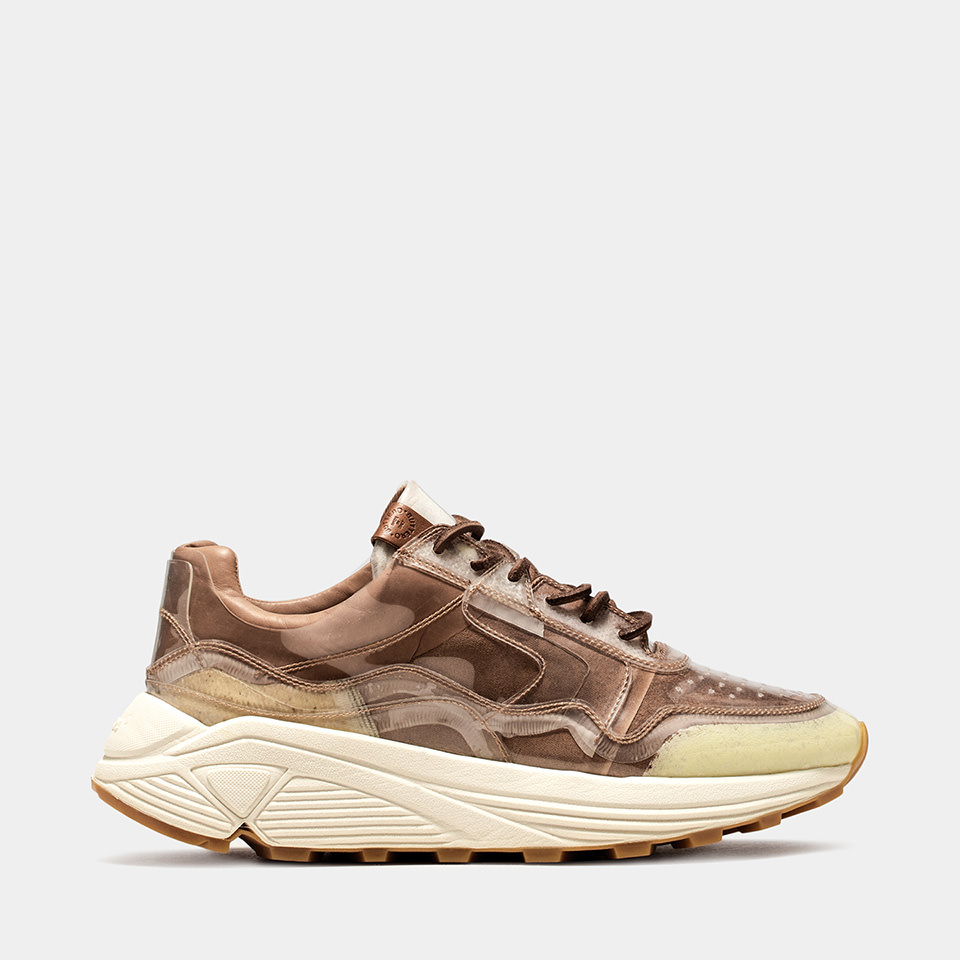 BUTTERO: VINCI SNEAKER IN NATURAL BROWN LINING COATED IN PVC