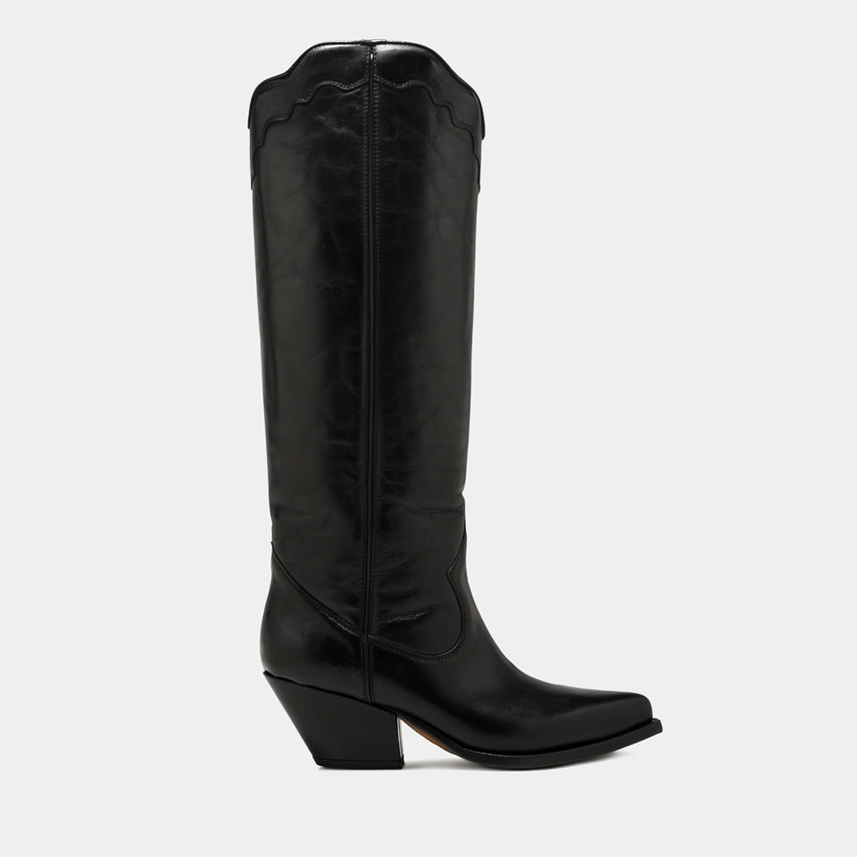 BUTTERO: ELISE HIGH TOP BOOTS IN BLACK ETRUSCO LEATHER