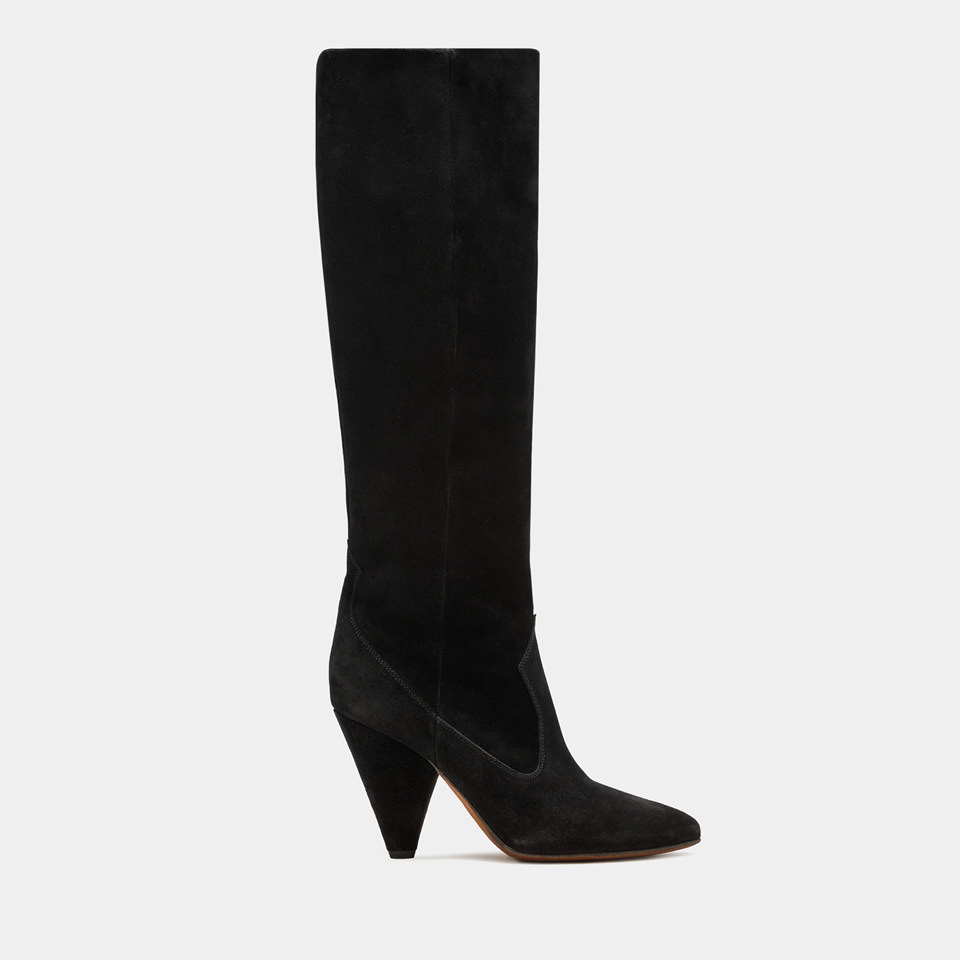 BUTTERO: BLACK SUEDE ROSE HIGH TOP BOOTS