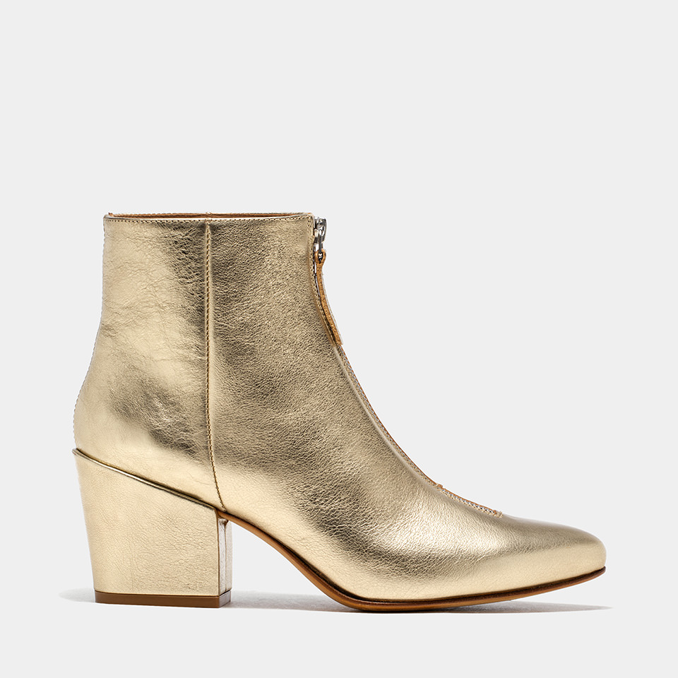 BUTTERO: PLATINUM LAMINATED LEATHER JOSELINE BOOTS