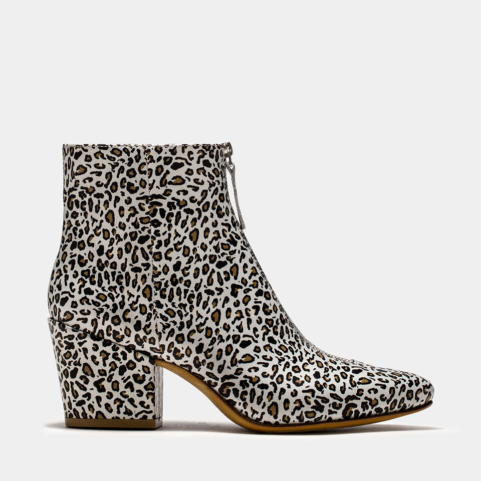 BUTTERO: OFF WHITE LEATHER JOSELINE BOOTS WITH LEOPARD PRINT