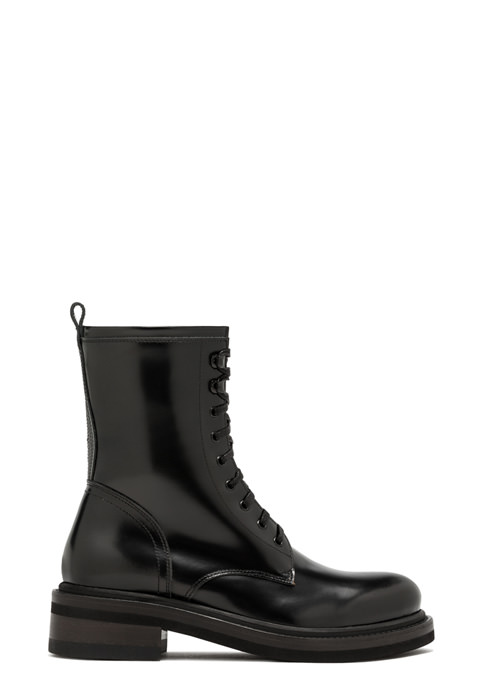 BUTTERO: COMBAT BOOTS IN BRUSHED LEATHER COLOR BLACK (B9240JIV-DG1/01)