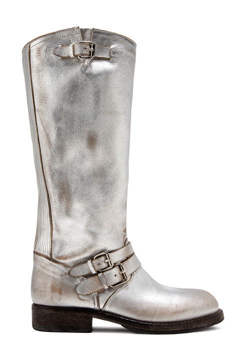 BUTTERO: LOU KNEE HIGH BIKER BOOTS IN SILVER TONE LAMINATED LEATHER (B8695BIB-DG1/09)