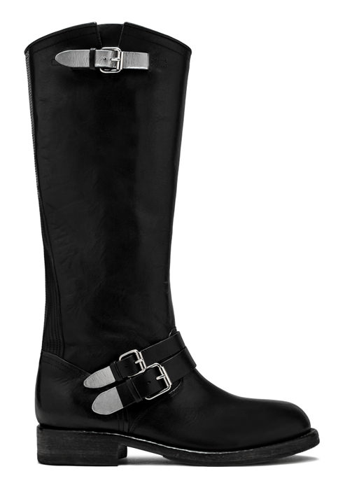 BUTTERO: LOU KNEE HIGH BIKER BOOTS IN BLACK LEATHER (B8694VARA-DG1/A)