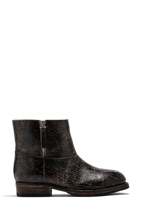 BUTTERO: LOU BIKER ANKLE BOOTS IN DARK BROWN CRACKLE EFFECT LEATHER (B8696CRK-DG1/04)