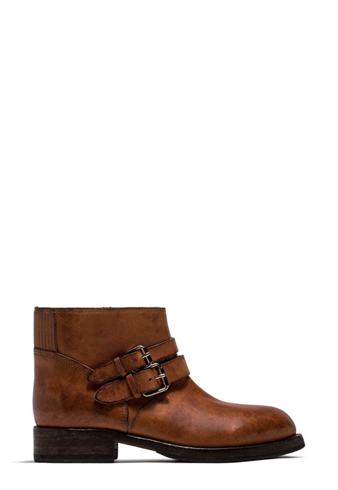 BUTTERO: LOU BIKER ANKLE BOOTS IN NATURAL BROWN LEATHER (B8693MAINE-DG1/05)