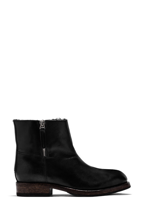 BUTTERO: LOU BIKER ANKLE BOOTS IN BLACK LEATHER (B8696MAINE-DG1/01)
