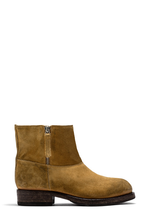 BUTTERO: LOU BIKER ANKLE BOOTS IN COPPER BROWN SUEDE (B8696LIG-DG1/13)