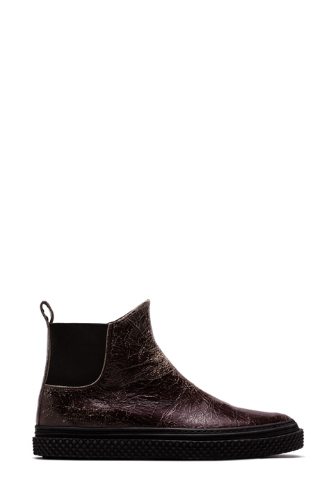 BUTTERO: DARK CHILE LEATHER CRAQUELE' COLLODI CHELSEA BOOTS