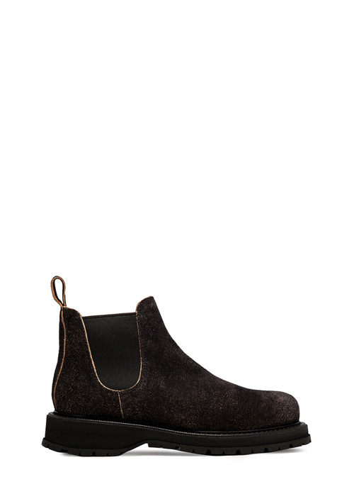 BUTTERO: ZENO CHELSEA BOOTS IN BLACK MONKEY CALF LEATHER