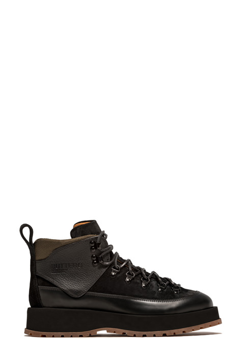 BUTTERO: LACE UP ANKLE BOOTS IN BLACK SUEDE AND LEATHER (B9140VARA-UG1/A)