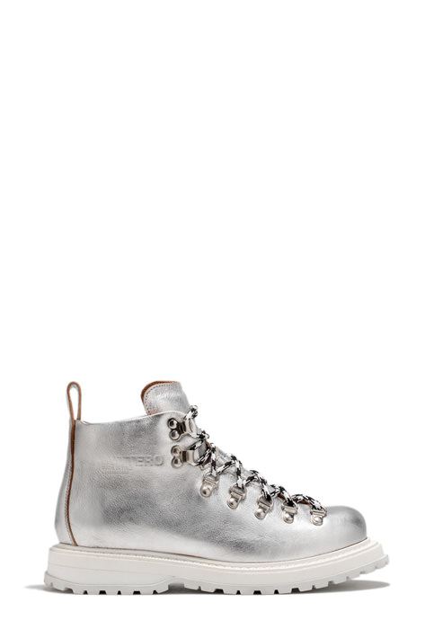 BUTTERO: ZENO HIKING BOOTS IN SILVER TONE LAMINATED LEATHER (B8681BIB-DG1/09)