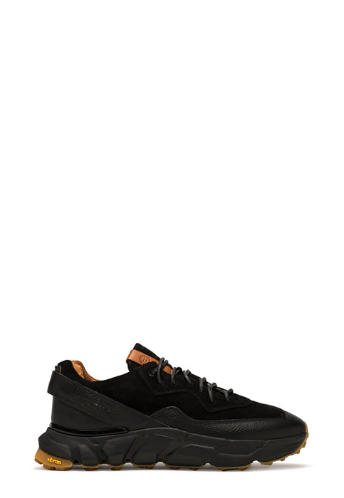 BUTTERO: SPAZIO SNEAKERS IN BLACK LEATHER AND SUEDE  (B9110VARC-UG1/01)