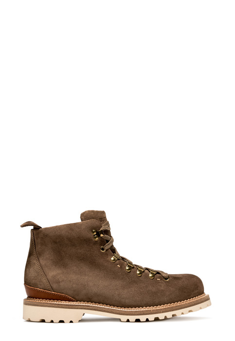 BUTTERO: CANALONE LACE-UP ANKLE BOOTS IN TAUPE GRAY SUEDE (B6601VARE-UG1/E)