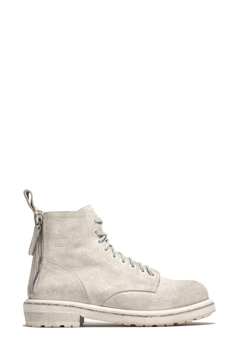 BUTTERO: CARGO ANKLE BOOTS IN WHITE CRACKLE EFFECT LEATHER (B9130BIANV-UG1/03)