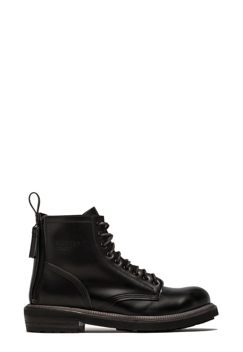 BUTTERO: CARGO ANKLE BOOTS IN BRUSHED BLACK LEATHER (B9130BOLO-UG1/01)