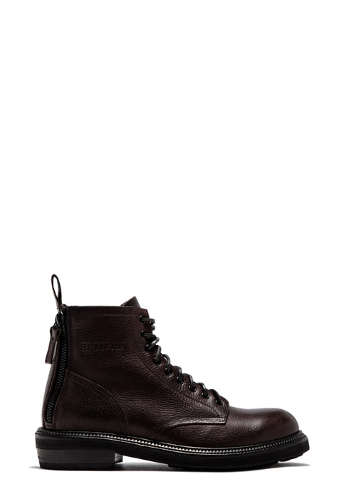 BUTTERO: CARGO BOOTS IN DARK BROWN COWHIDE