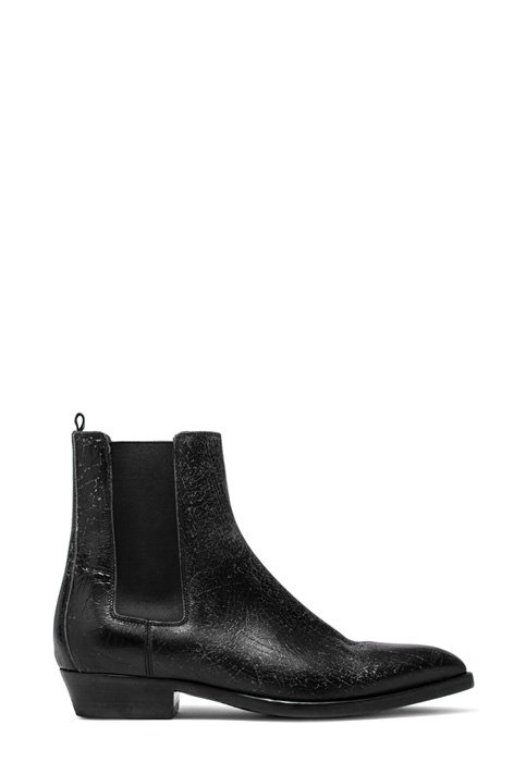 BUTTERO: BLACK CRAQUELE' LEATHER FARGO ANKLE BOOTS (B8090CRK-UC1/01)