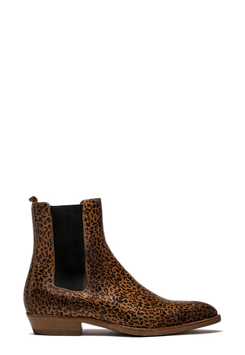BUTTERO: NATURAL BROWN LEATHER FARGO ANKLE BOOTS WITH LEOPARD PRINT (B8270ETRM-UC1/05)