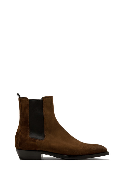 BUTTERO: SNUFF BROWN SUEDE FARGO ANKLE BOOTS (B8090GORH-UC1/27)