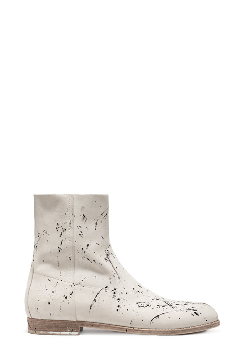 BUTTERO: WHITE SUEDE FLOYD ANKLE BOOTS WITH PAINT SPLASHES
