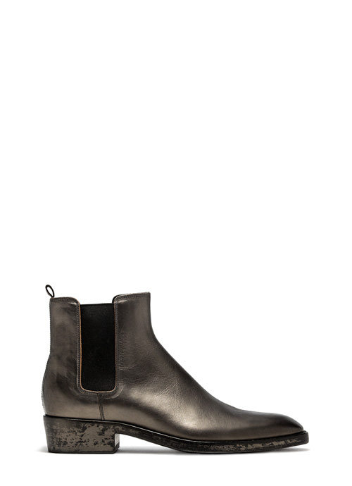 BUTTERO: SILVER LAMINATED LEATHER QUENTIN BOOTS (B8070BIB-UC1/11)