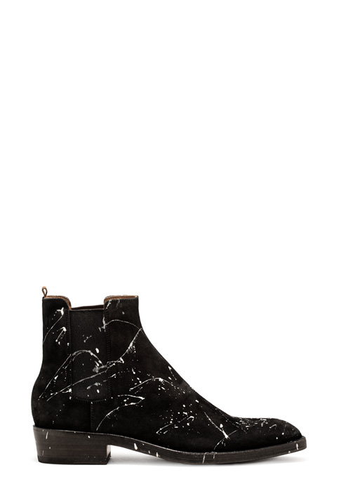 BUTTERO: BLACK SUEDE QUENTIN BOOTS WITH PAINT SPLASHES