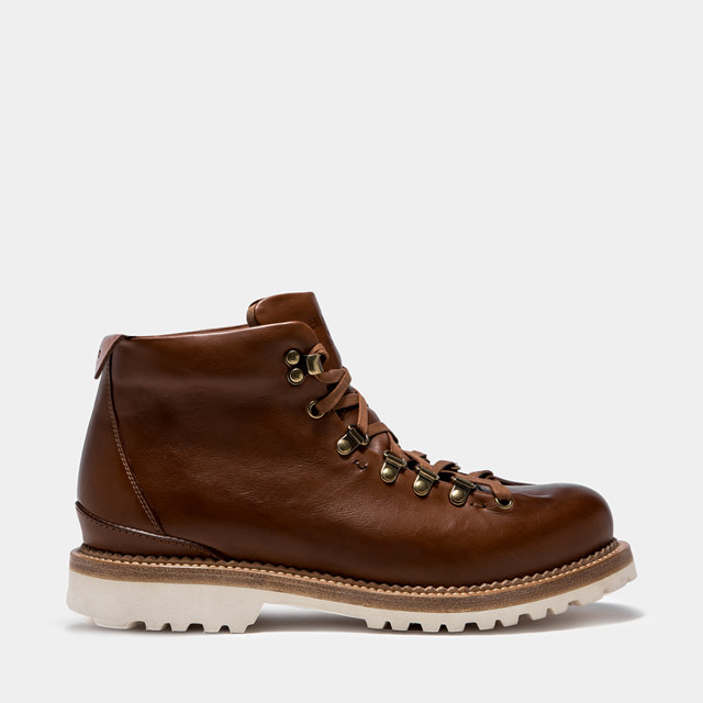 BUTTERO:  NATURAL BROWN LEATHER CANALONE LACE-UP BOOTS