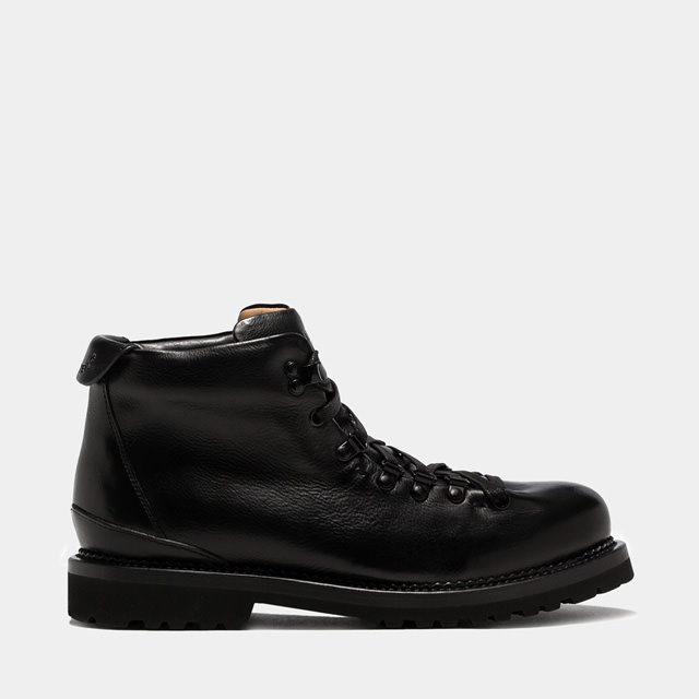 BUTTERO: BLACK LEATHER CANALONE LACE-UP BOOTS