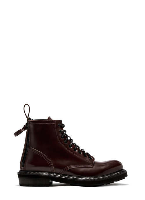 BUTTERO: CARGO LACE UP BOOTS IN TAURUS BROWN LEATHER
