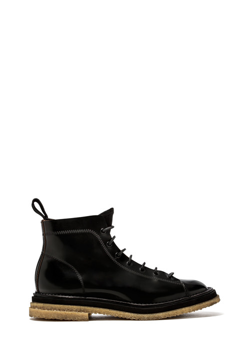 BUTTERO: LACE UP SUPER BOOTS IN BLACK LEATHER (B8051VARB-UG1/B)