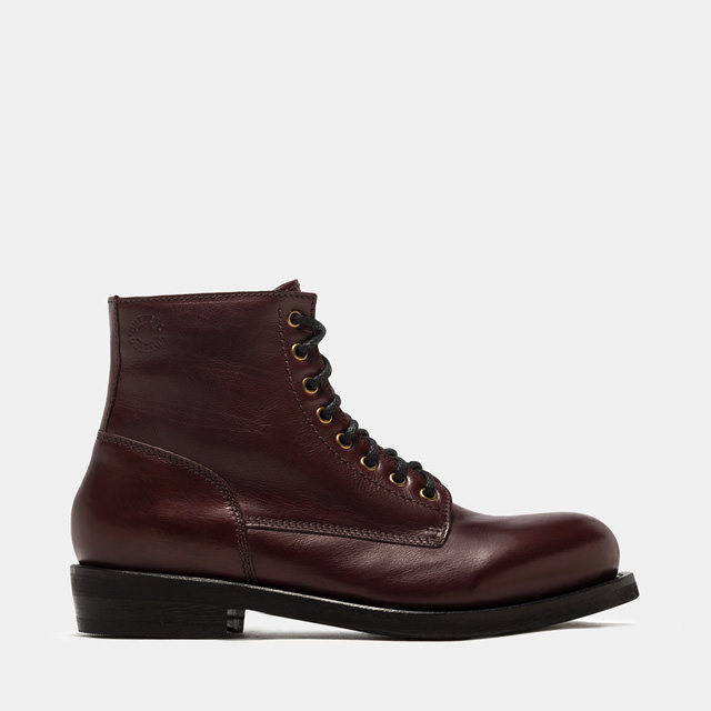 BUTTERO: WINE RED T.BONE HIGH-LACED BOOTS (B4420DIV-UG1/09)